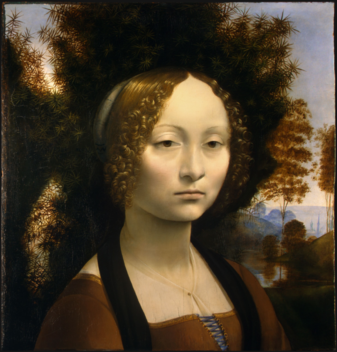 L. da Vinci, Portrait of Ginevra Benci (a. 1475), Washington National Gallery