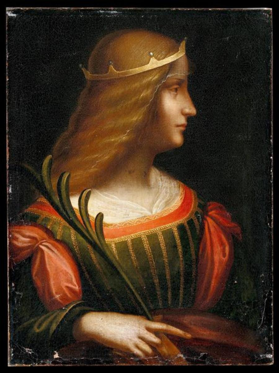 Leonardo da Vinci (?), Portrait of Isabella d'Este (1500 - 1550). The canvas has been found in Switzerland by the Italian police in February 2015. It seems that it was going to be sold for 120 millions Euros.