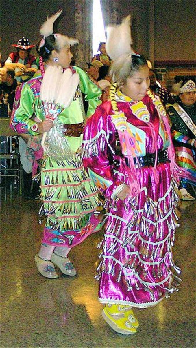 Gir's Jingle Dance competition. Last Chance Community Pow Wow 2007, Helena, Montana