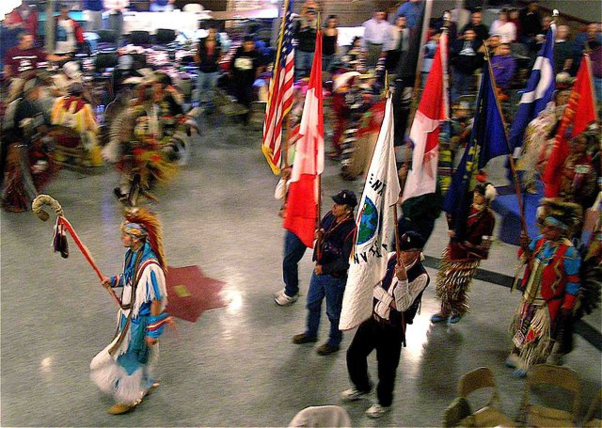 The Eagle staff has strong spiritual significance and precedes the flags. 2007 PowWow, Helena, Montana