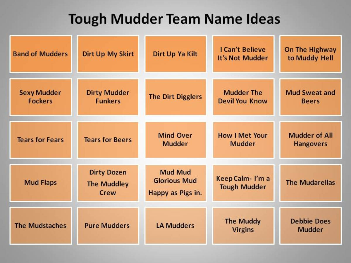 great team name ideas for tough mudder and mud runs hubpages. Black Bedroom Furniture Sets. Home Design Ideas