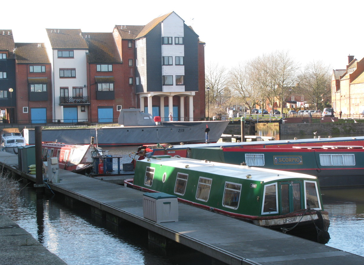 Torpedo Boat alongside Narrow Boats!   (the canal entrance is seen to the right of the MTB's prow)
