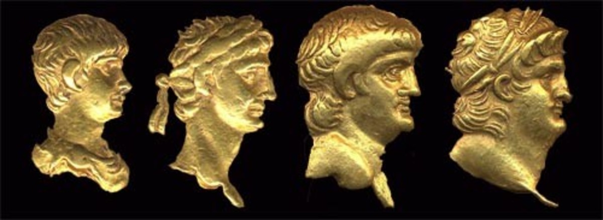 A composite image showing the changing profile of Nero (AD 54-AD 68).
