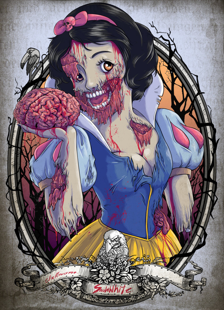 Yet another example of how culture affects fairy tales. I found this image fitting as we are picking apart the tale of Snow White to have an image of her picked apart as a zombie.