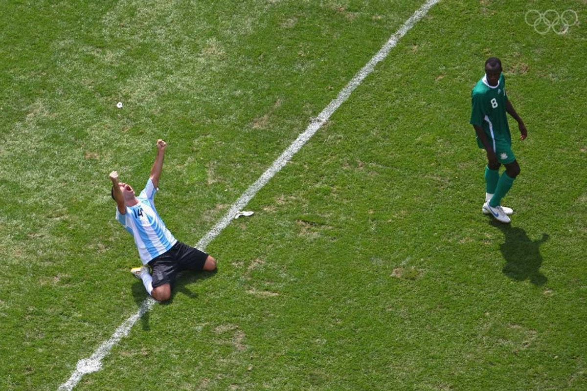 Javier Mascherano celebrates as Argentina wins the gold medal. Mascherano also won gold at the 2004 Summer Olympics.