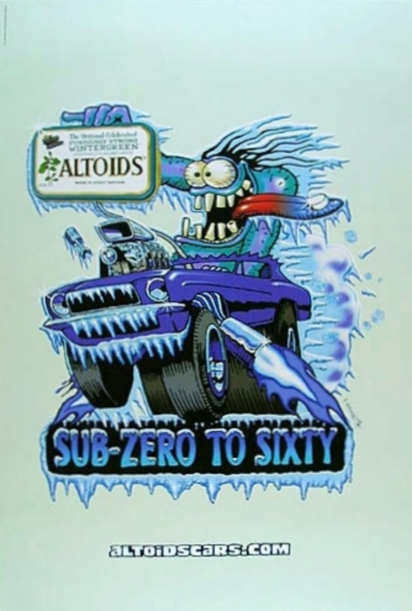 "Scream Machine ""Sub-Zero to Sixty"" Altoids Mints  24 x 36"" (2002) by Stanley Mouse"