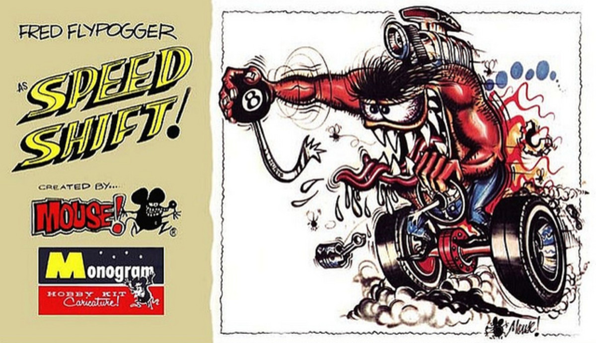 "Fred Flypogger as ""Speed Shift"" Fastest Shift in the West Monogram Models Hobby Kit Caricature by Mouse 1964"