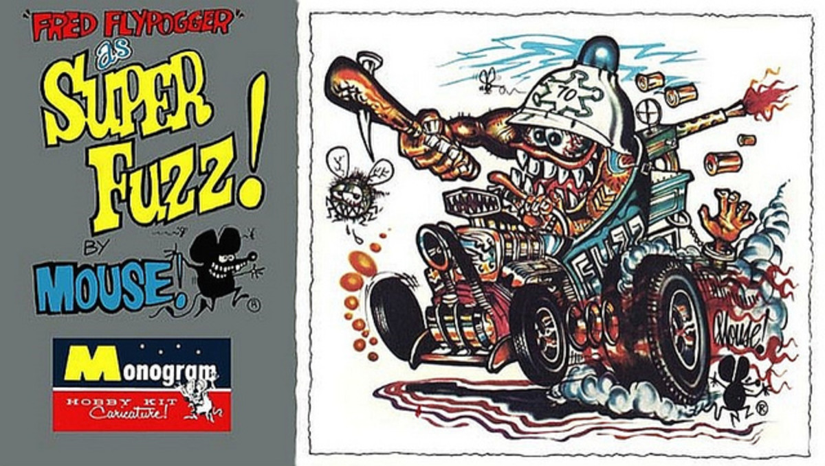 "Fred Flypogger as ""Super Fuzz"" The Friendly Lawman and His Super-Charged Prowl Rod. Monogram Models Hobby Kit Caricature by Mouse 1964"
