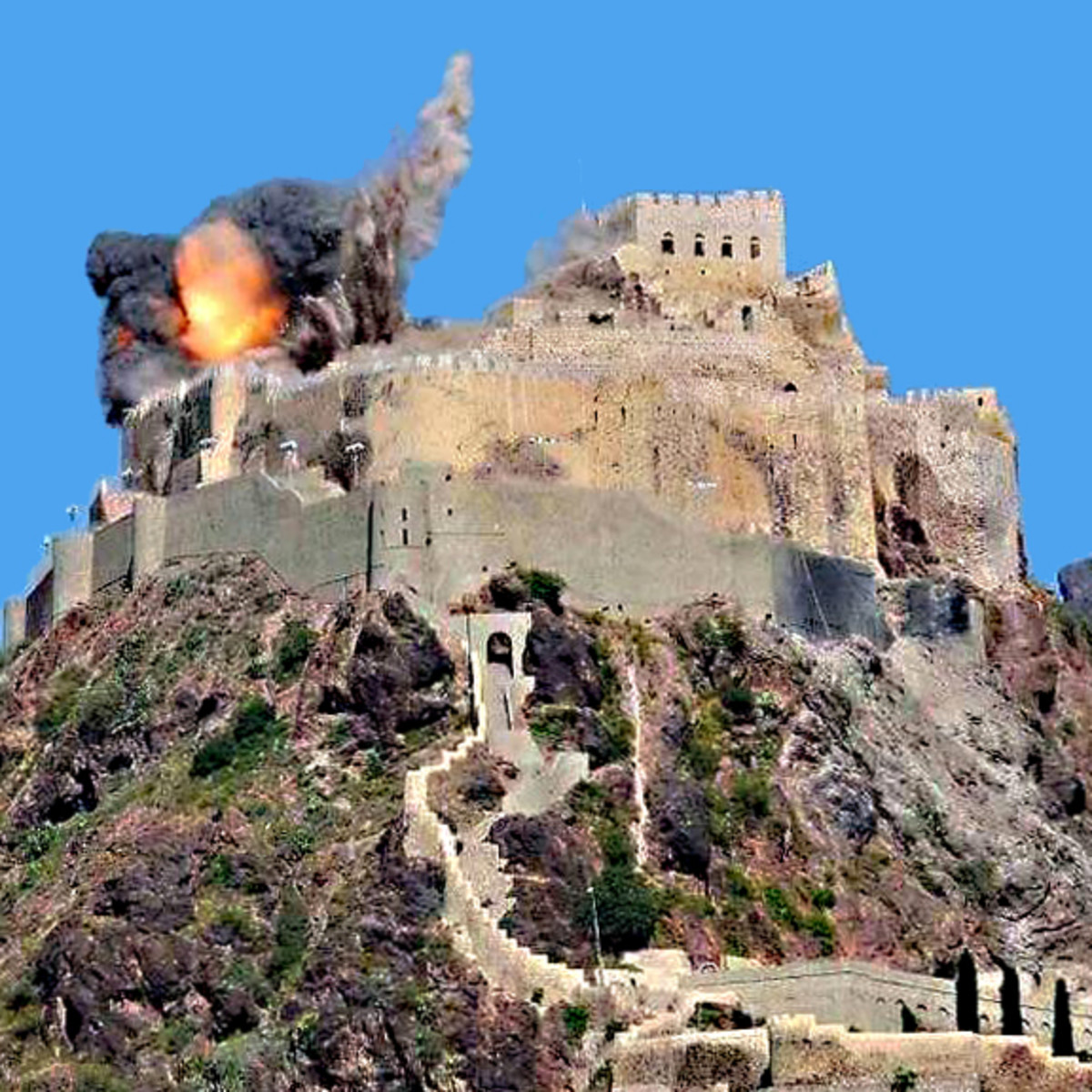 The ancient al-Qahira castle in Yemen was occupied by Shi'ite rebels. So it was targeted by a destructive airstrike