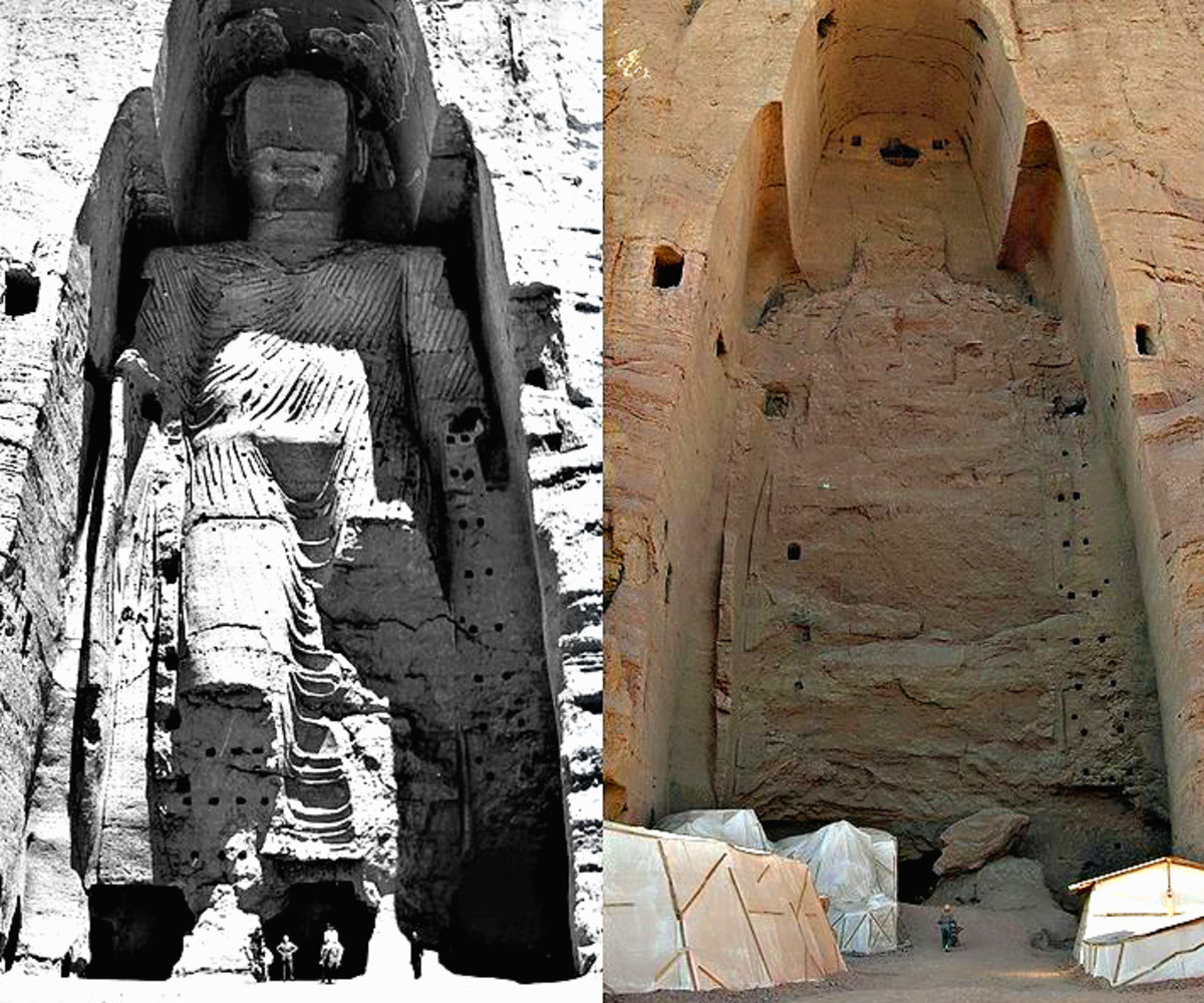 A composite of two photos - before and after the destruction of the Bamayin Buddhas. The photo on the left was taken in 1963. The photo on the right was taken after the destruction of the statue in 2001