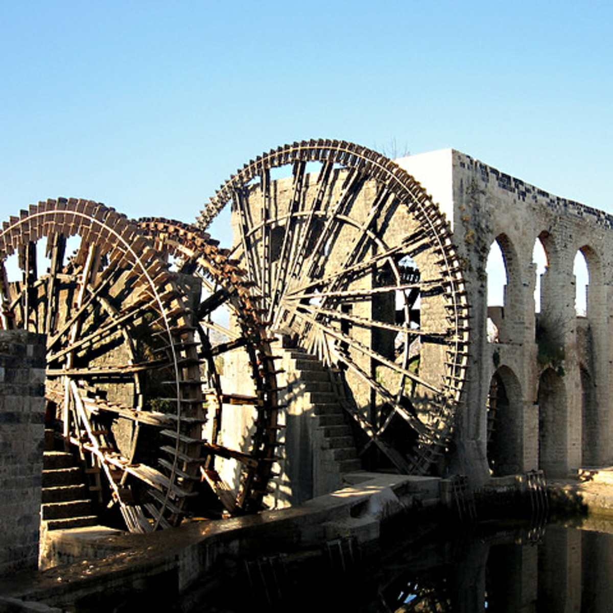 The Norias - waterwheels - of Hama. Still working after hundreds of years but under attack during the Syrian Civil War