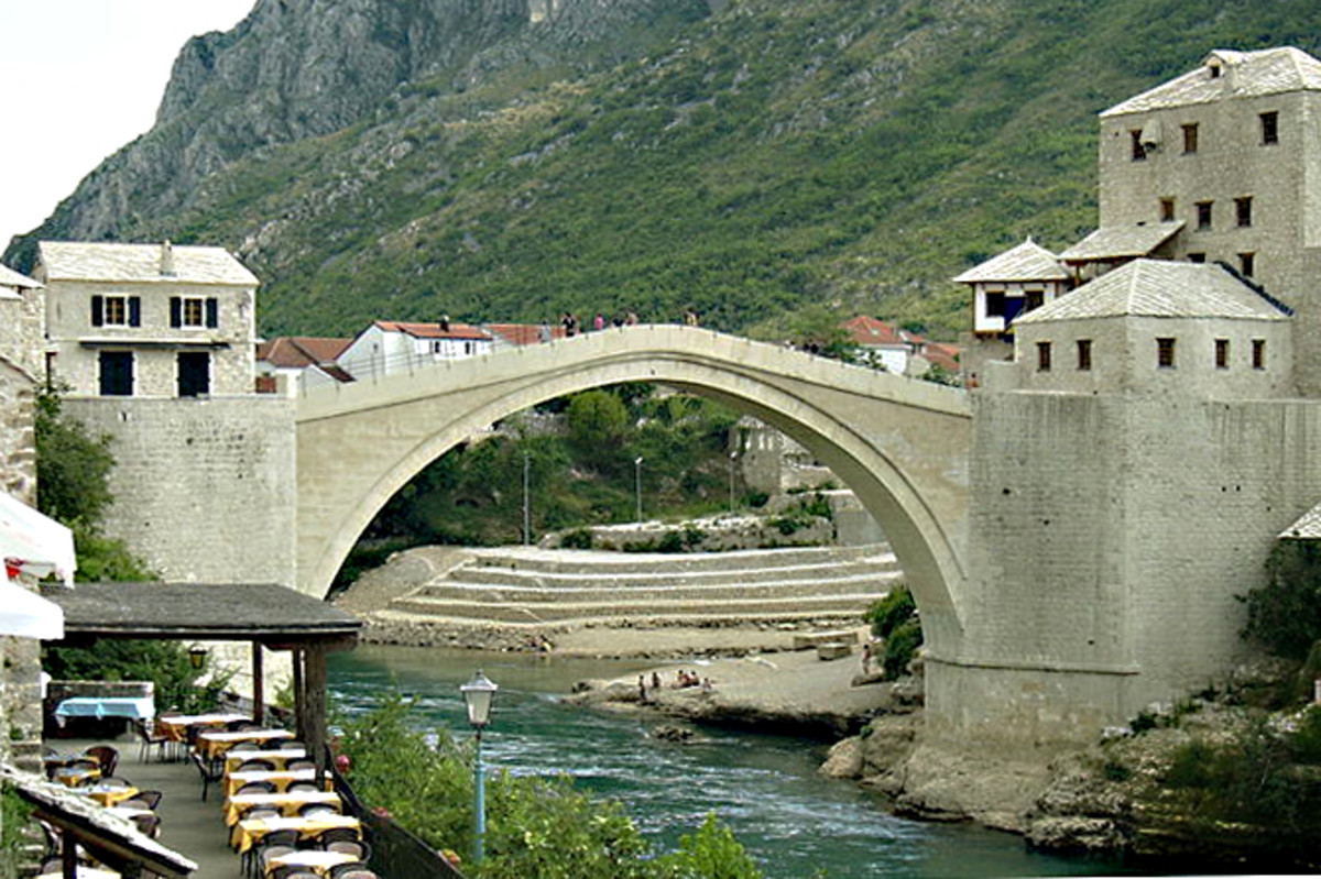The reconstructed Stari Most in 2005, rebuilt using original stone recovered from the river as well as local quarried stone