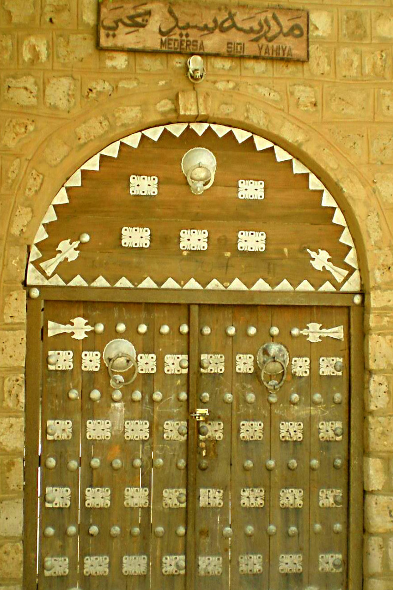 The entrance to Sidi Yahya mosque in Timbuktu. Legend had it that the door would only open at the time of the apocalypse. But terrorists smashed it open in 2012