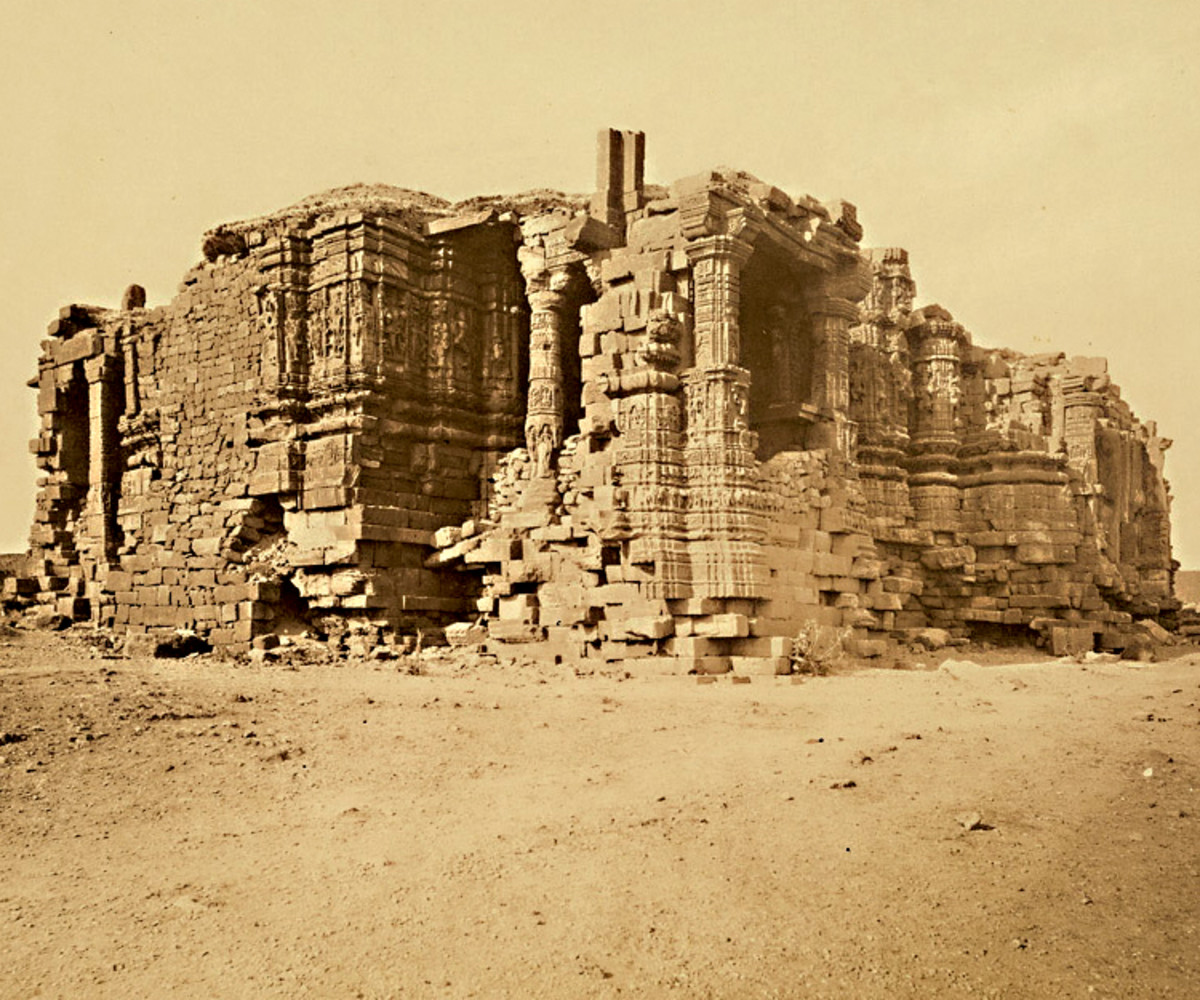 The Somnath temple of Gujarat, India in 1869. This Hindu temple, first built more than 1500 years ago, was destroyed by Muslim invaders and rebuilt many times, most recently in the 20th century