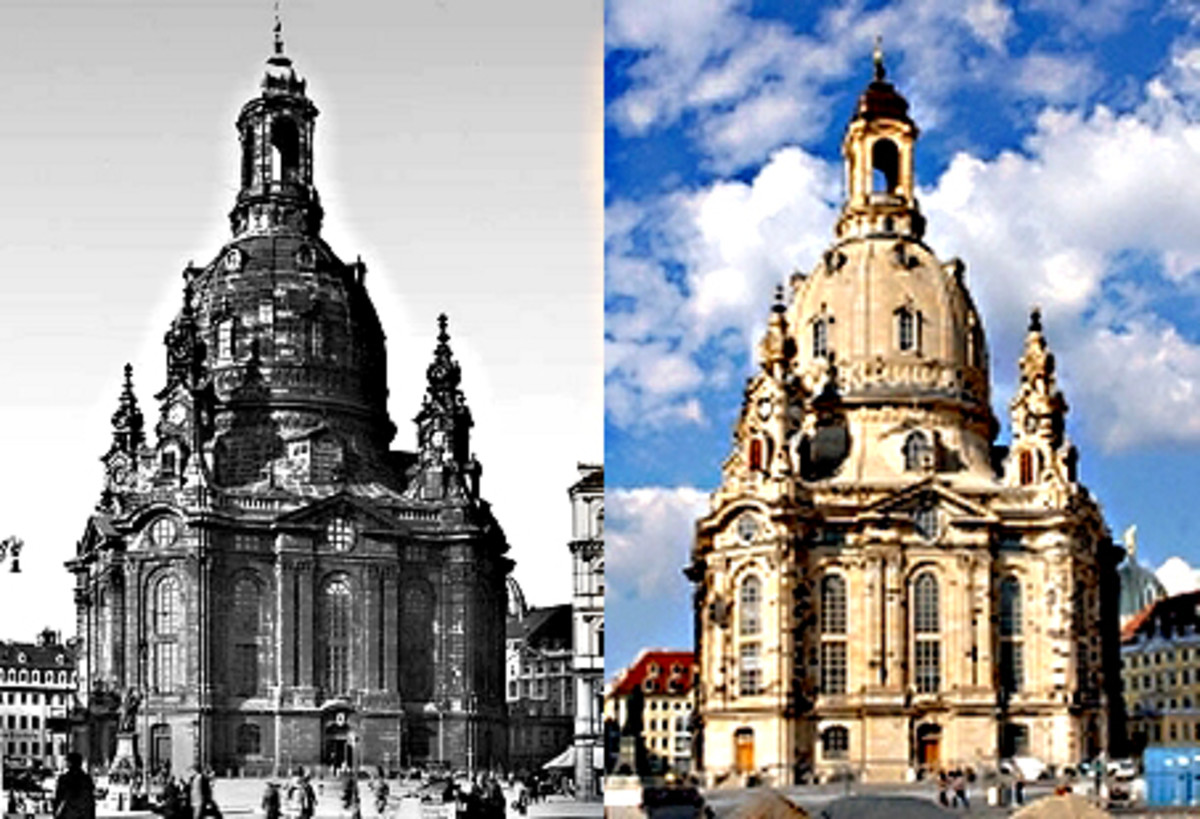 The Frauenkirche in Dresden - before its destruction in WW2, and again after its magnificent reconstruction