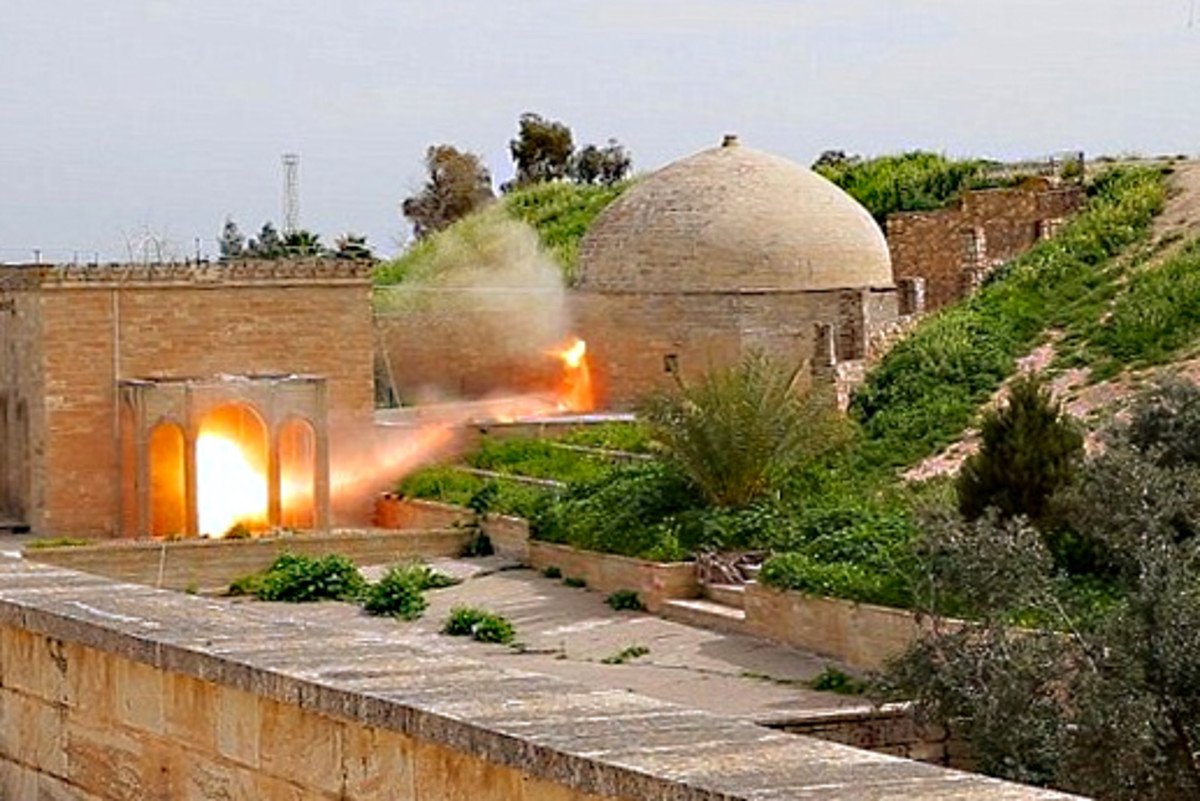 The moment when ISIL blew up the tomb complex of the12-13th century Monastery of Mar Behnam near Qaraqosh in Iraq. This important site featured 4th century tombs and ancient inscriptions