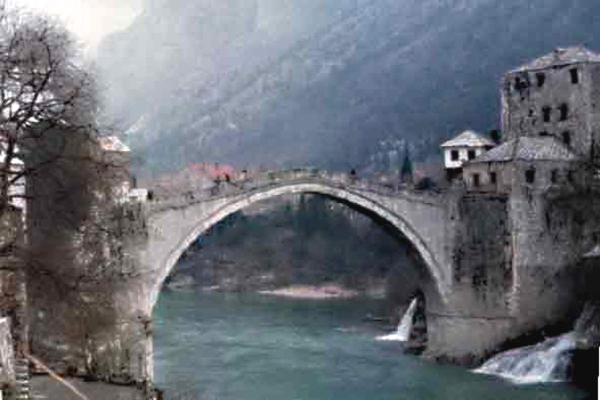 The 16th century Stari Most in the 1970s, before its destruction in 1993