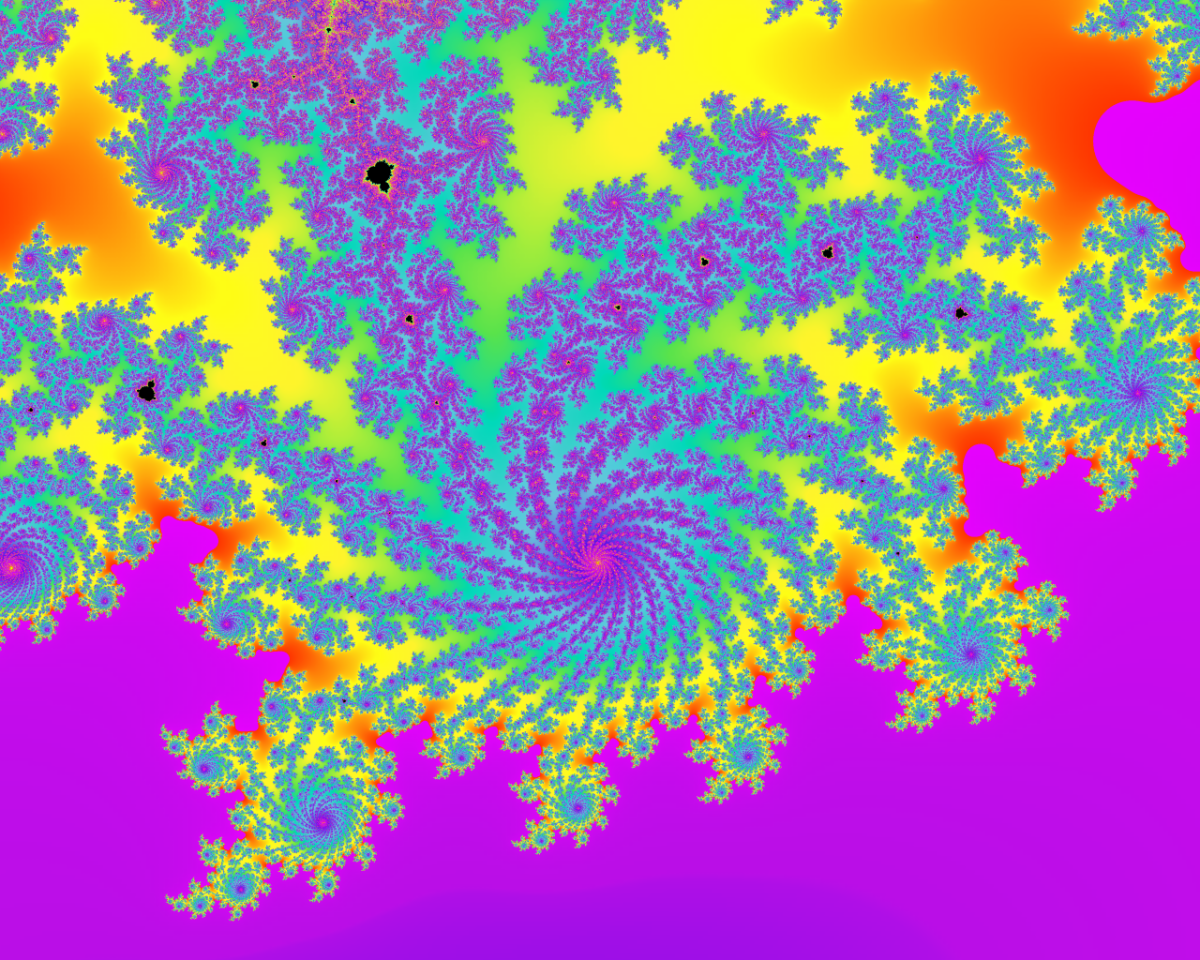 This beautiful tornado-like shape, that is part of the Mandelbrot set, is located in the complex plane. The tornado continues to go on forever, with an infinite amount of other tornado's around it. It's a whole universe on its own.