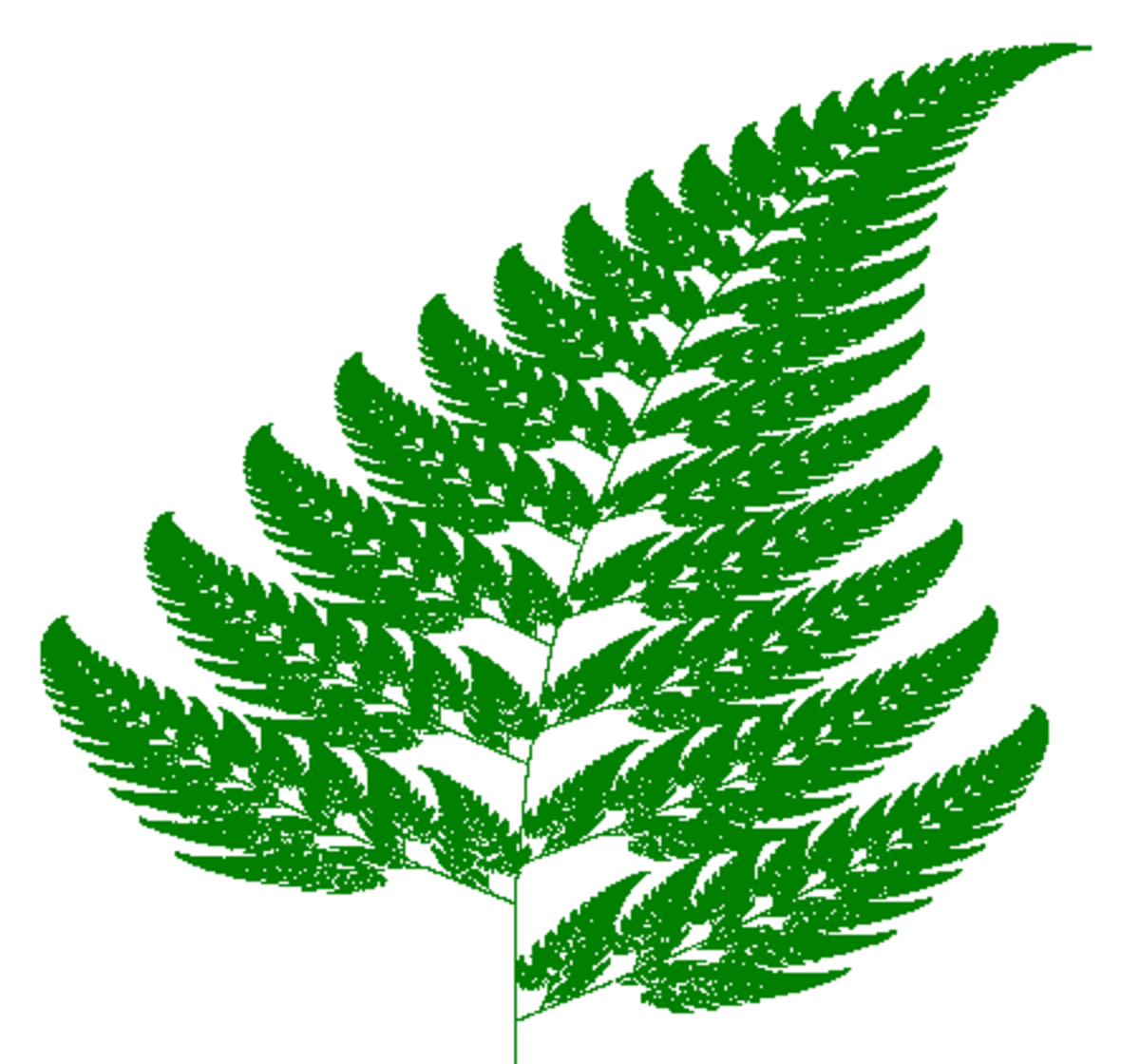 The Barnsley Fern is a fully mathematical object created by matrix iterations.