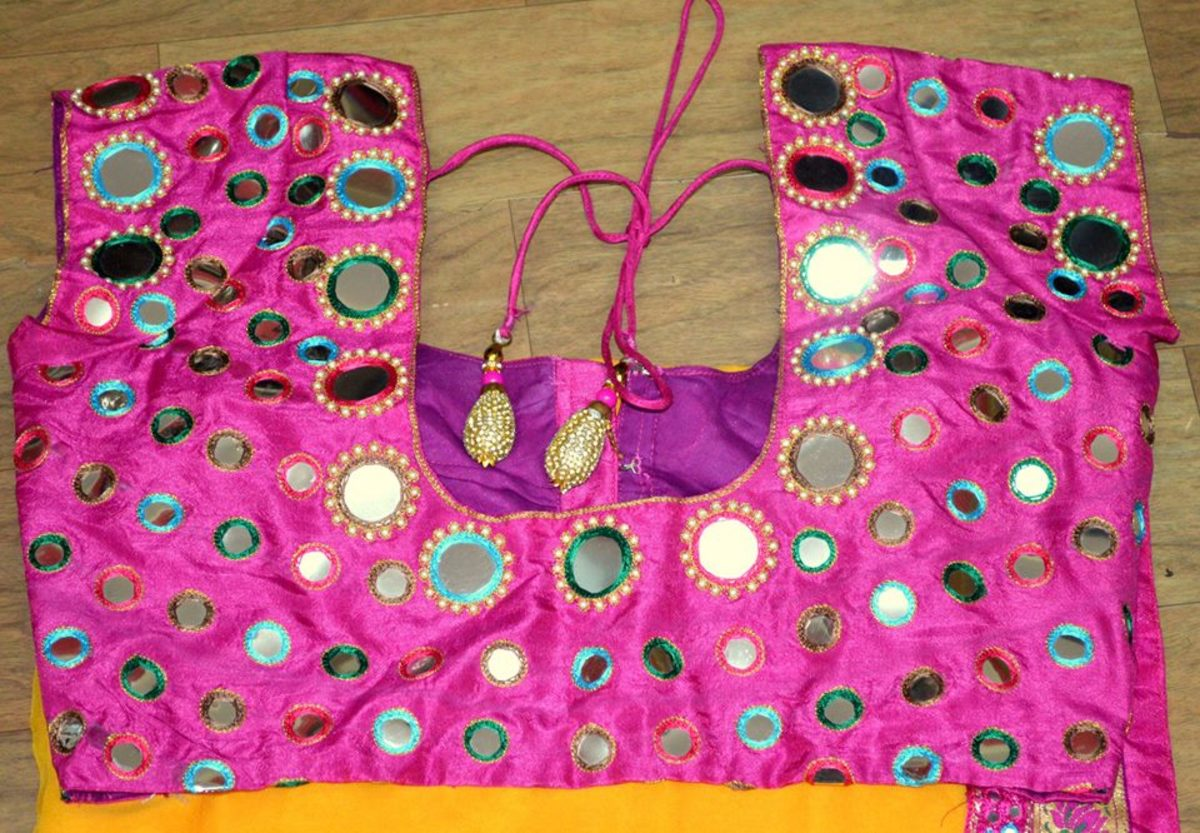 Hot pink flashy blouse for parties that can be worn with bright coloured chiffon saree