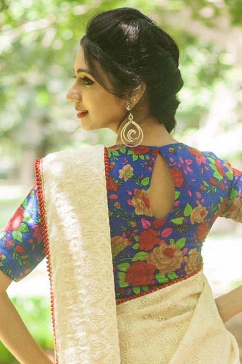 Front and back design of floral blouse for saree