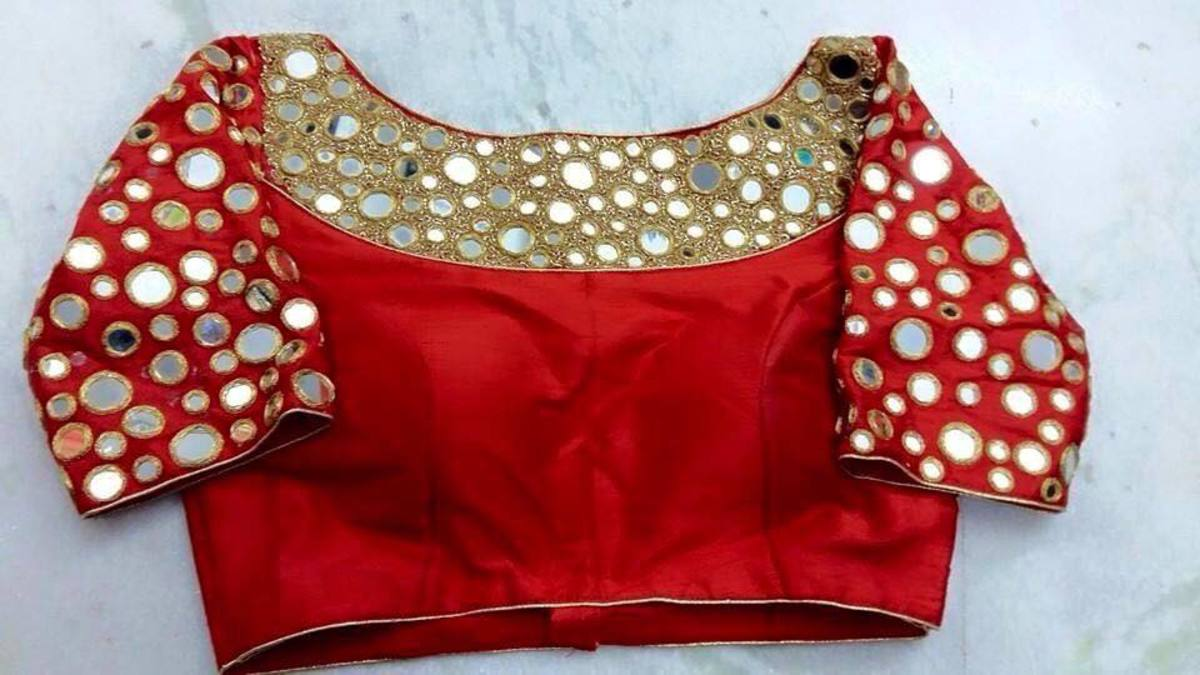 Very beautiful red and gold saree blouse picture