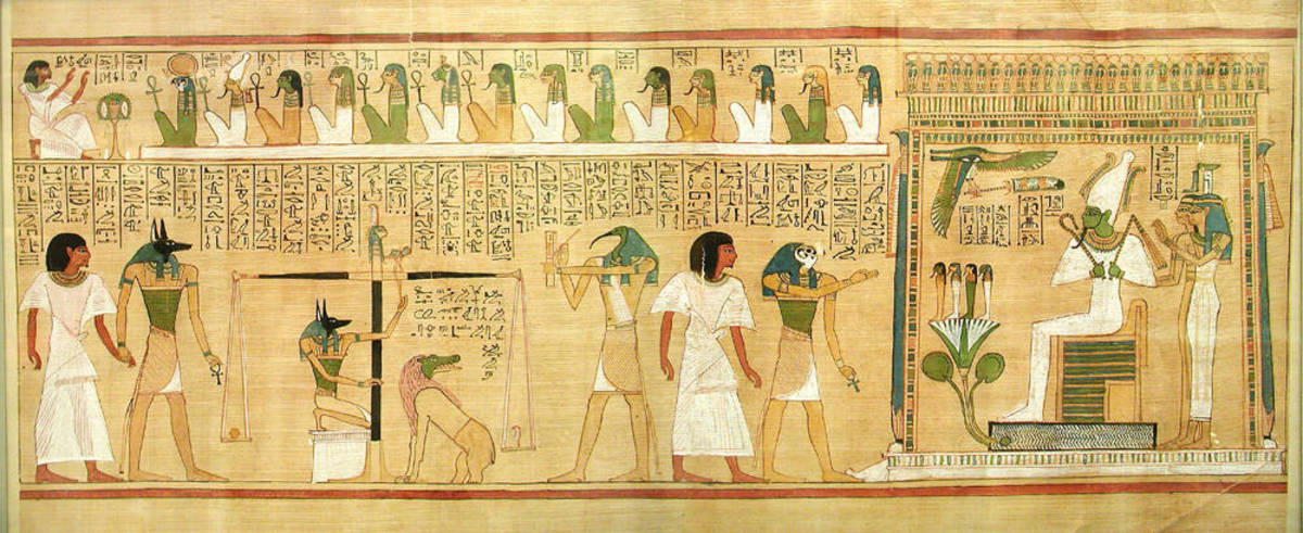 Egyptian depiction of weighing of the heart at The Judgement to determine what the afterlife will be.