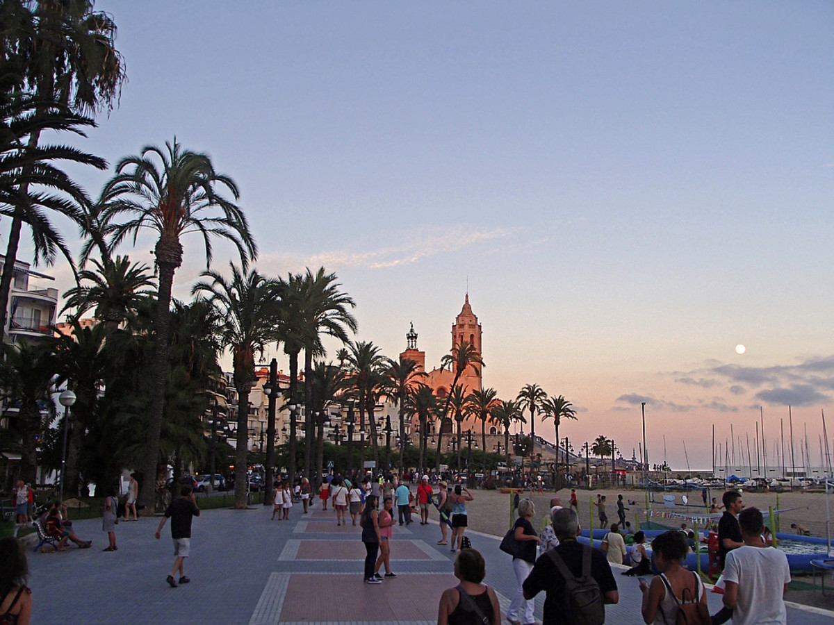 Beautiful summer evening in Sitges.