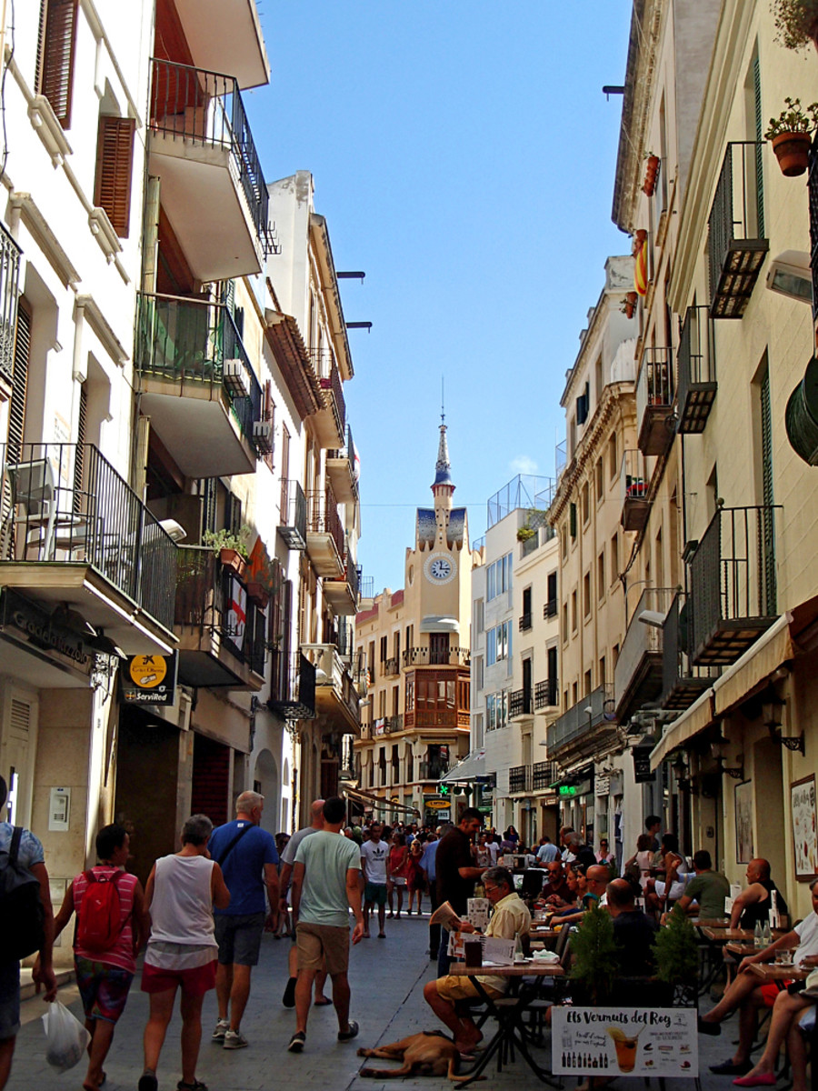 Carrer Major street in central Sitges.