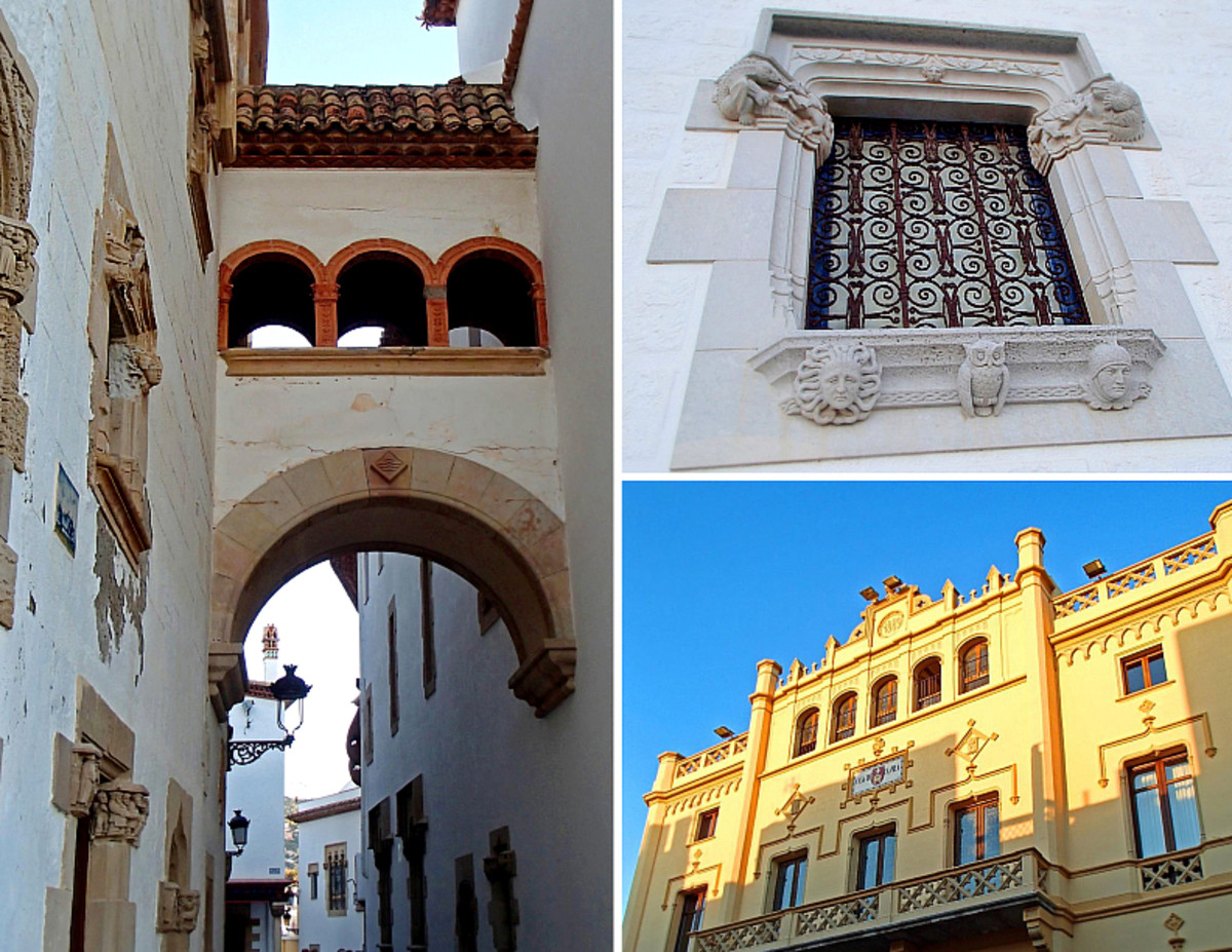 Clockwise from left: Palau de Maricel; architectural details on palace's window; Town Hall Casa de La Vila.