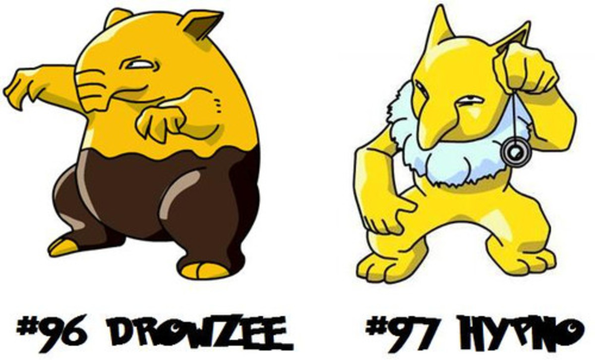 A picture of Drowzee and Hypno. Hypno is the one with the pendulum.