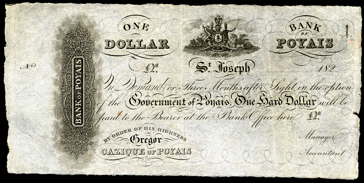 The currency of Poyais sold to gullible investors.
