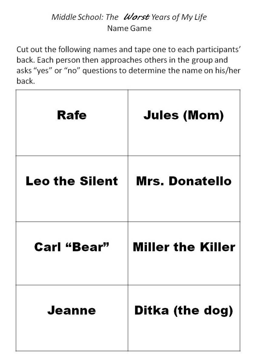 Printable Name Game for Middle School: The Worst Years of My Life