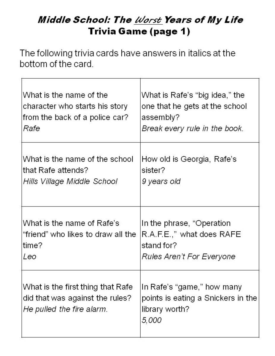 Printable Trivia Cards for Middle School: The Worst Years of My Life -- Page 1