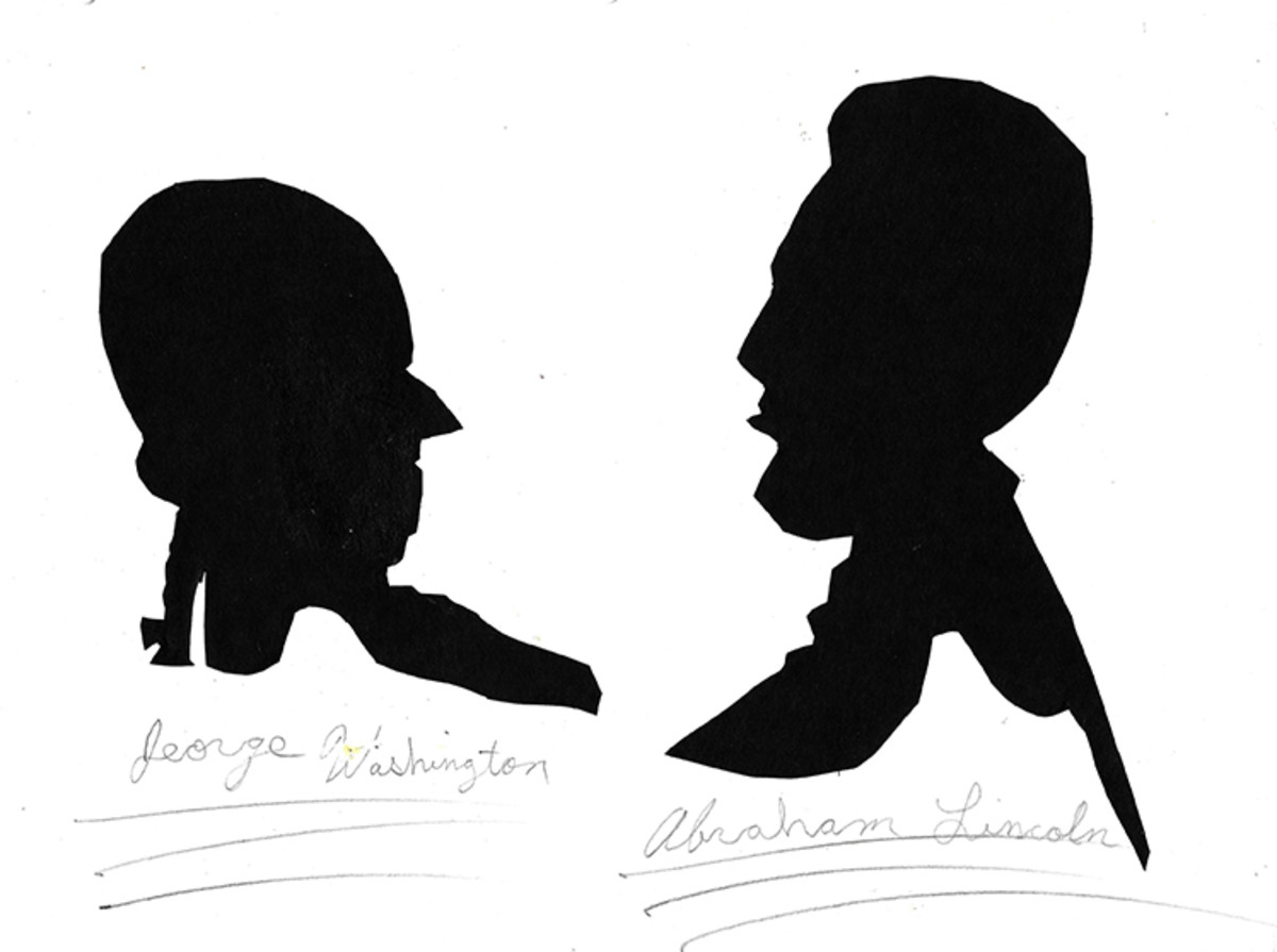 A student's drawing of Washington and Lincoln.