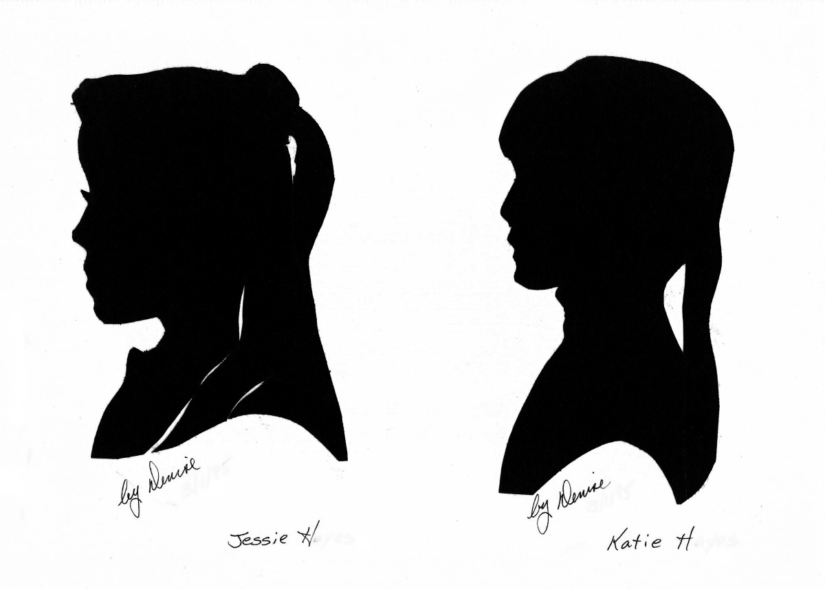 My silhouette drawings of students, Jessie and Katie.