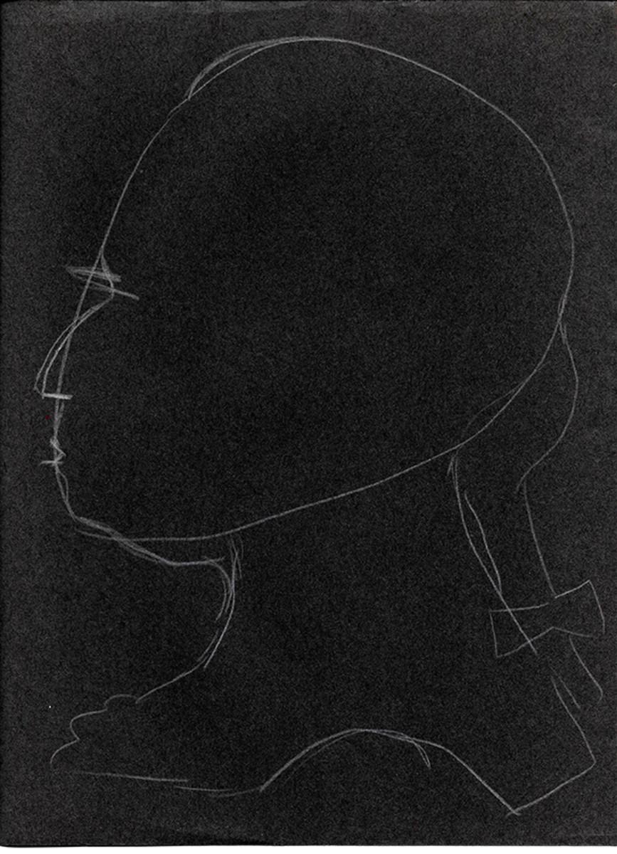 Washington drawing on black paper