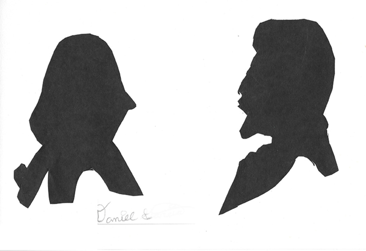 Student silhouettes of George Washington and Abe Lincoln by Daniel G.