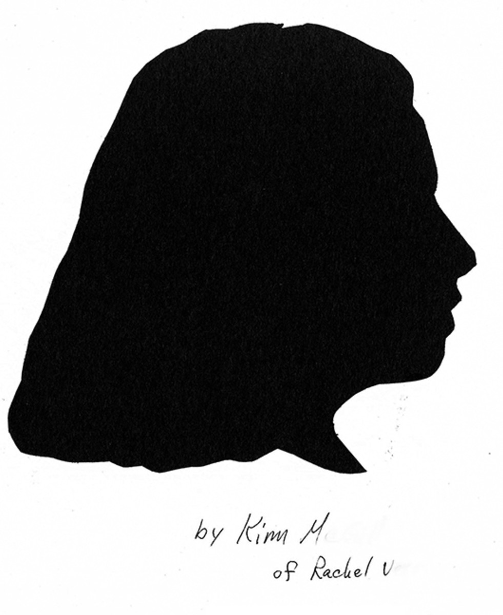 Student drawing/silhouette of her friend Rachael.
