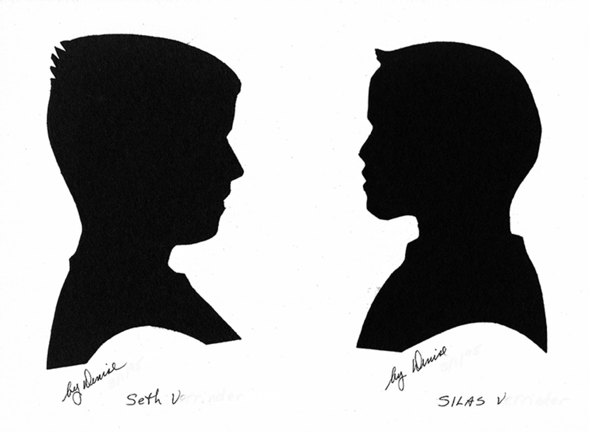 My silhouette drawings of students Seth and Silas.