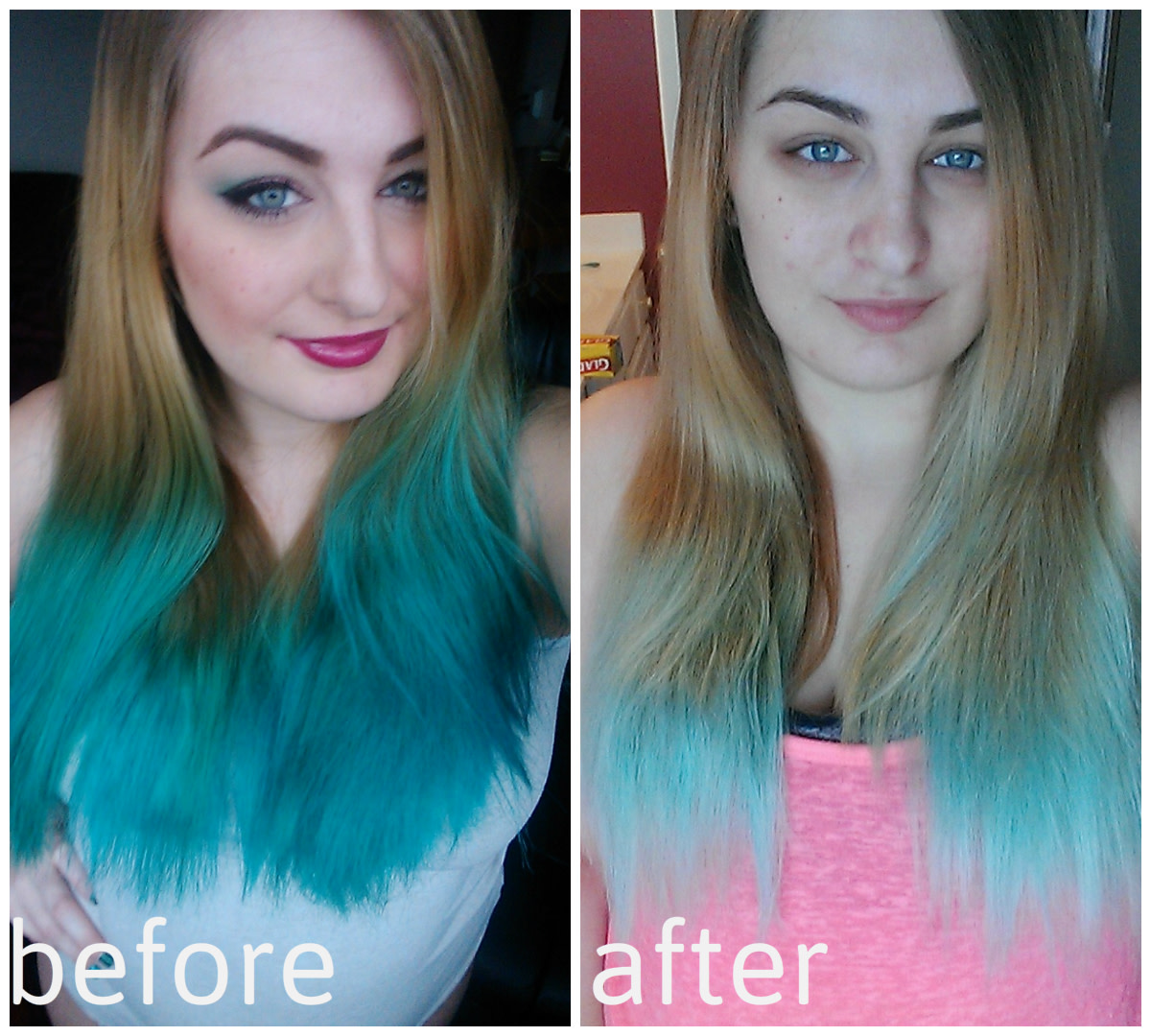 Using the process below I was able to lighten my hair up considerably to help prep my hair for the next color!