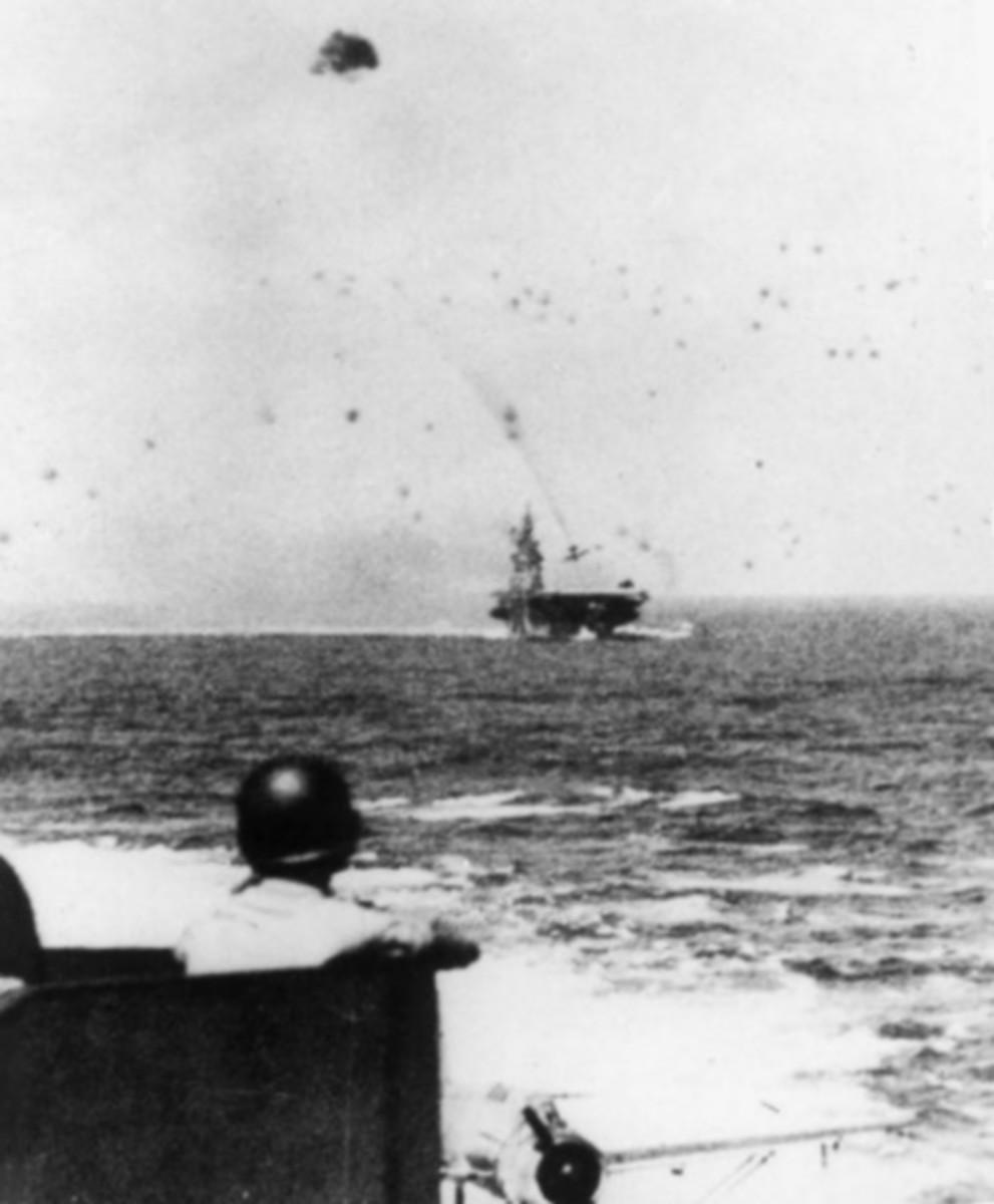 USS Intrepid under kamikaze attack.
