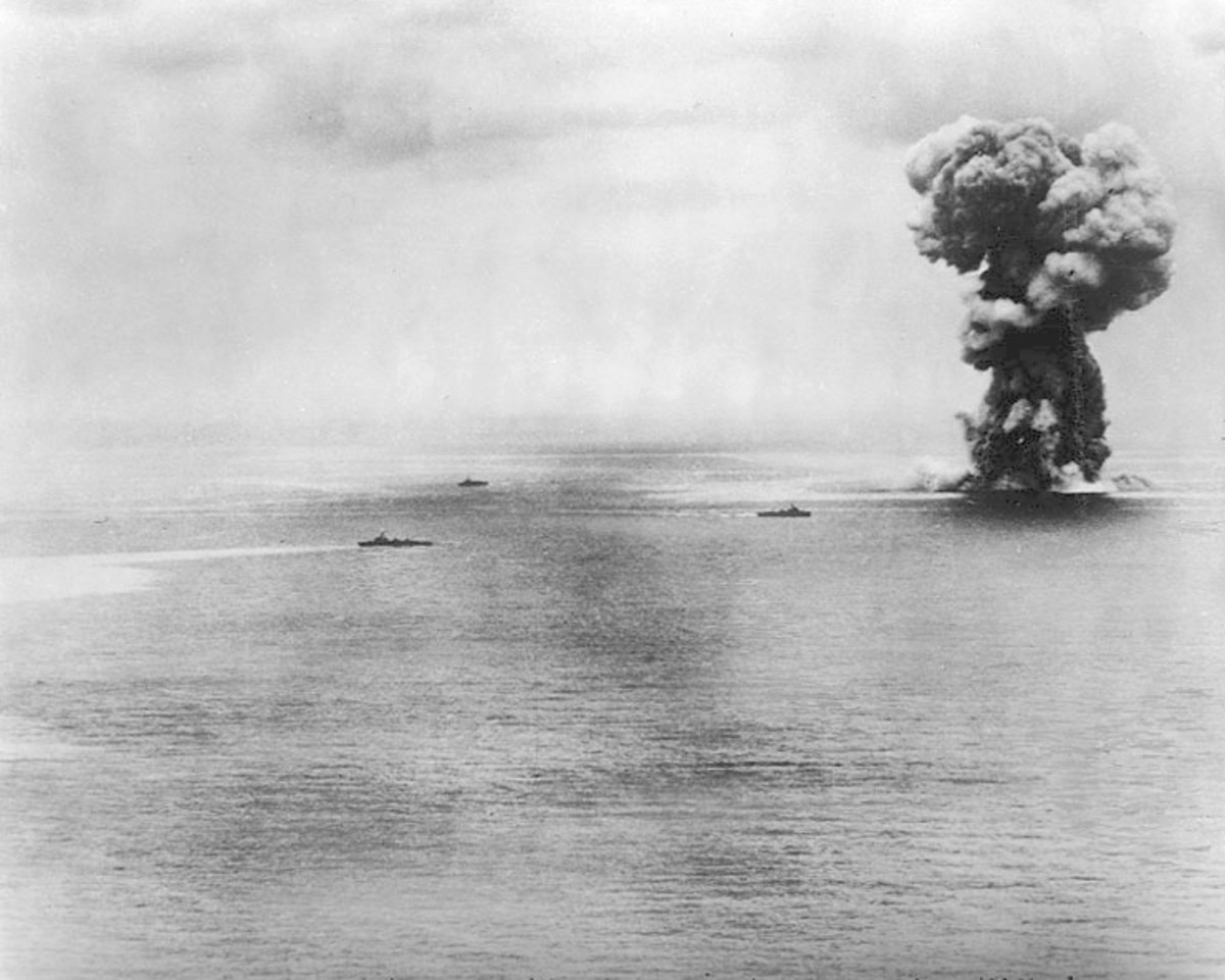 Yamato explosion soon afterward it sank to the bottom of the ocean.