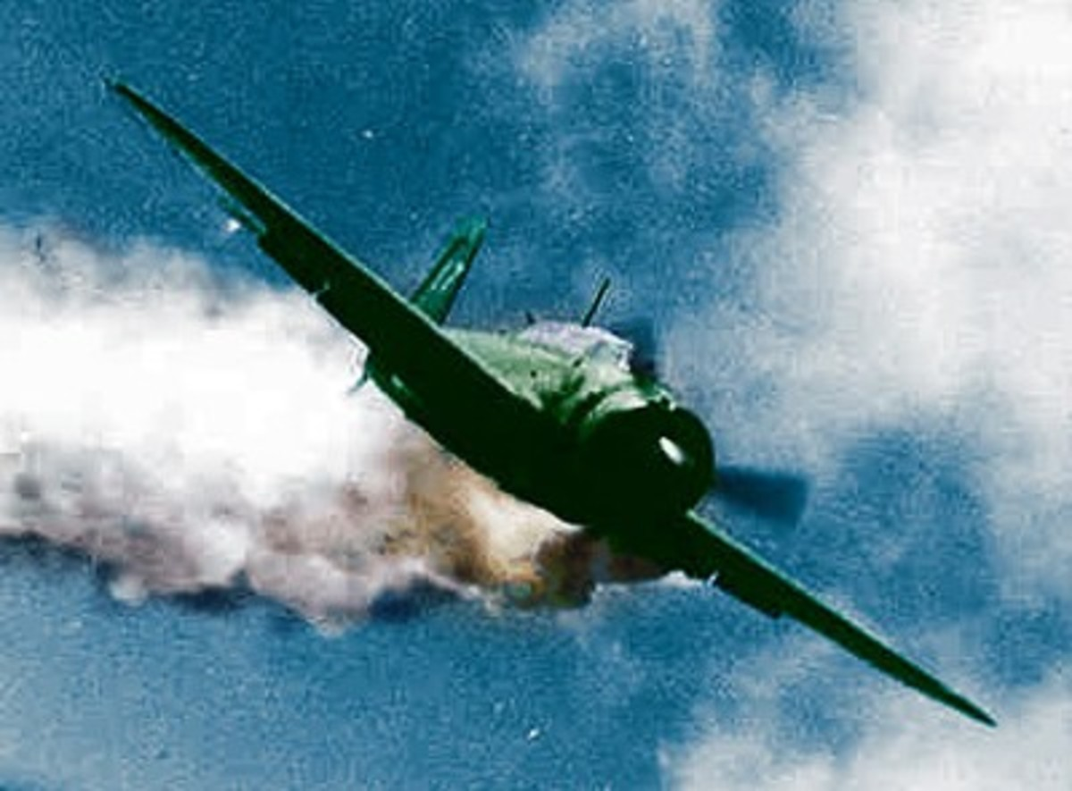 A kamikaze on fire diving toward it target.