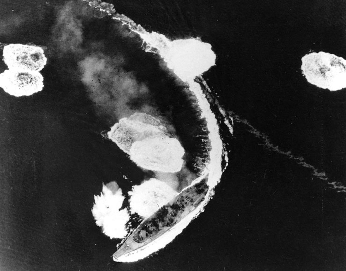 The Yamato under air attack.