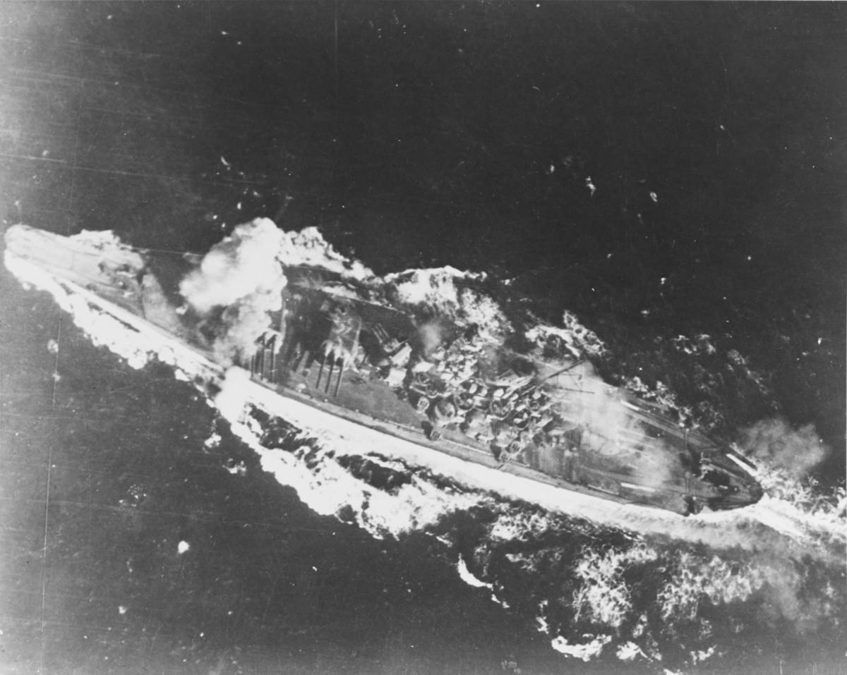 Yamato hit by bomb