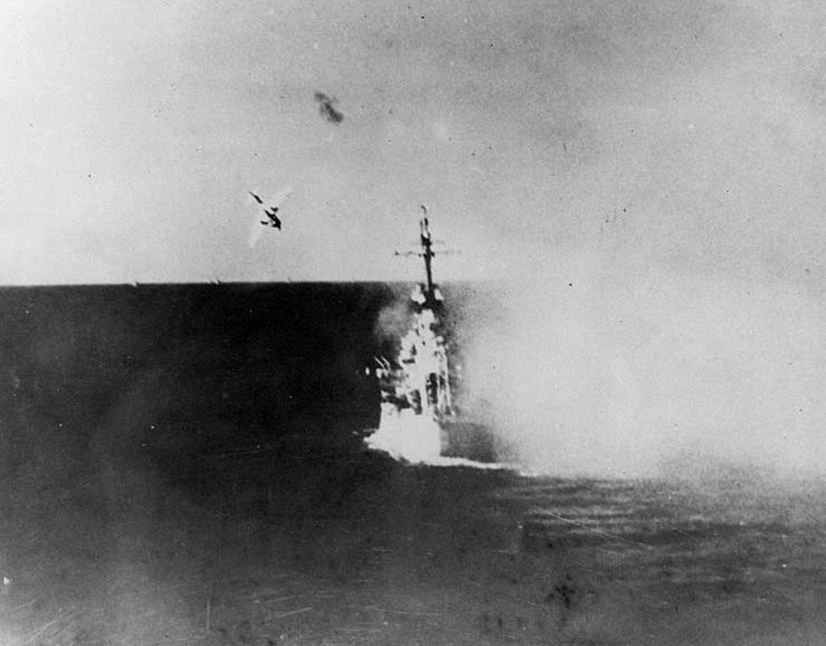 USS Columbia attacked by kamikaze off the beaches of Okinawa.