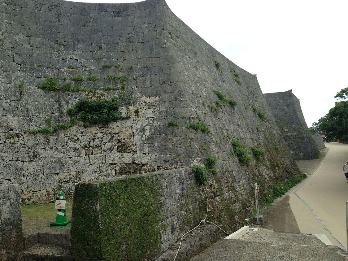 Stone wall of Shuri Castle.