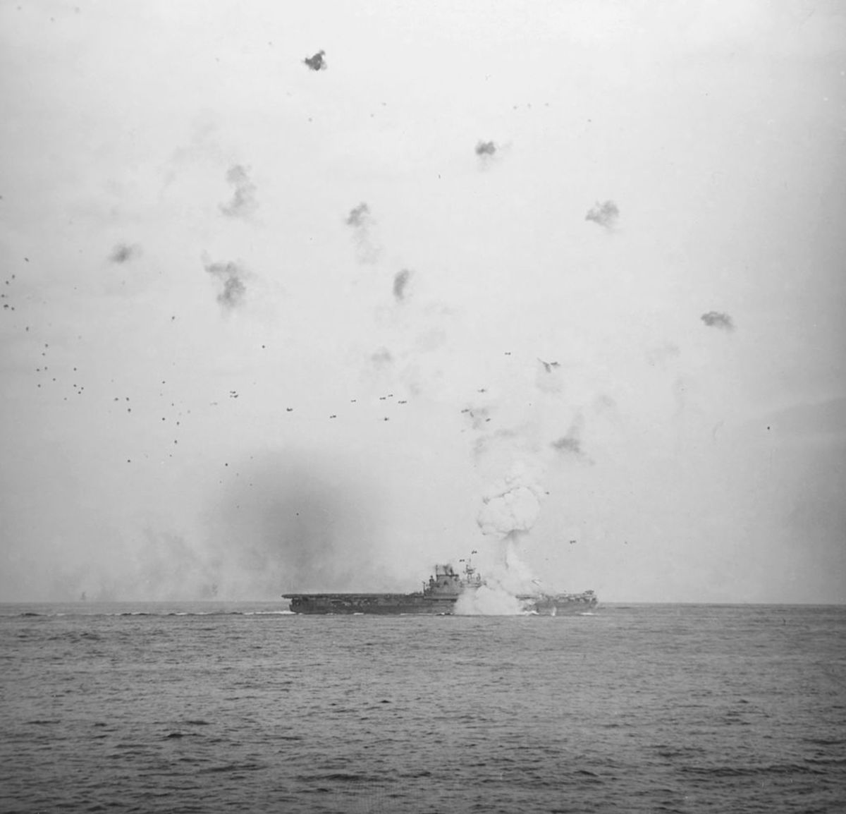 USS Enterprise off the beaches Okinawa during a kamikaze attack .