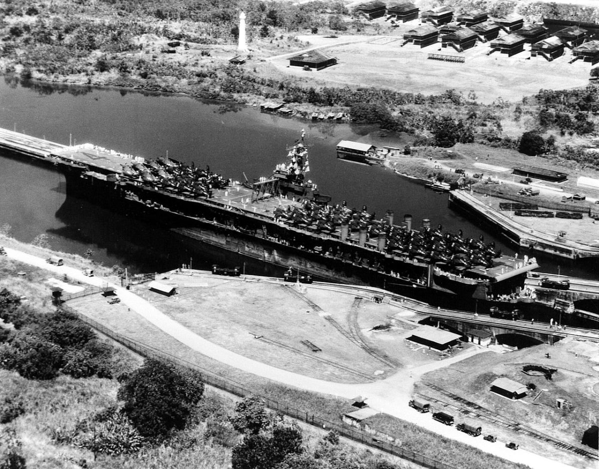 The USS Ranger passing through the Panama Canal on the way to the Pacific War.